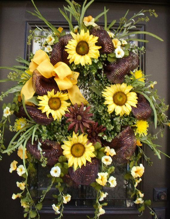 Photo of Sunflower wreath, summer wreath, wreaths, door wreath, wild sunflower, sunflower …