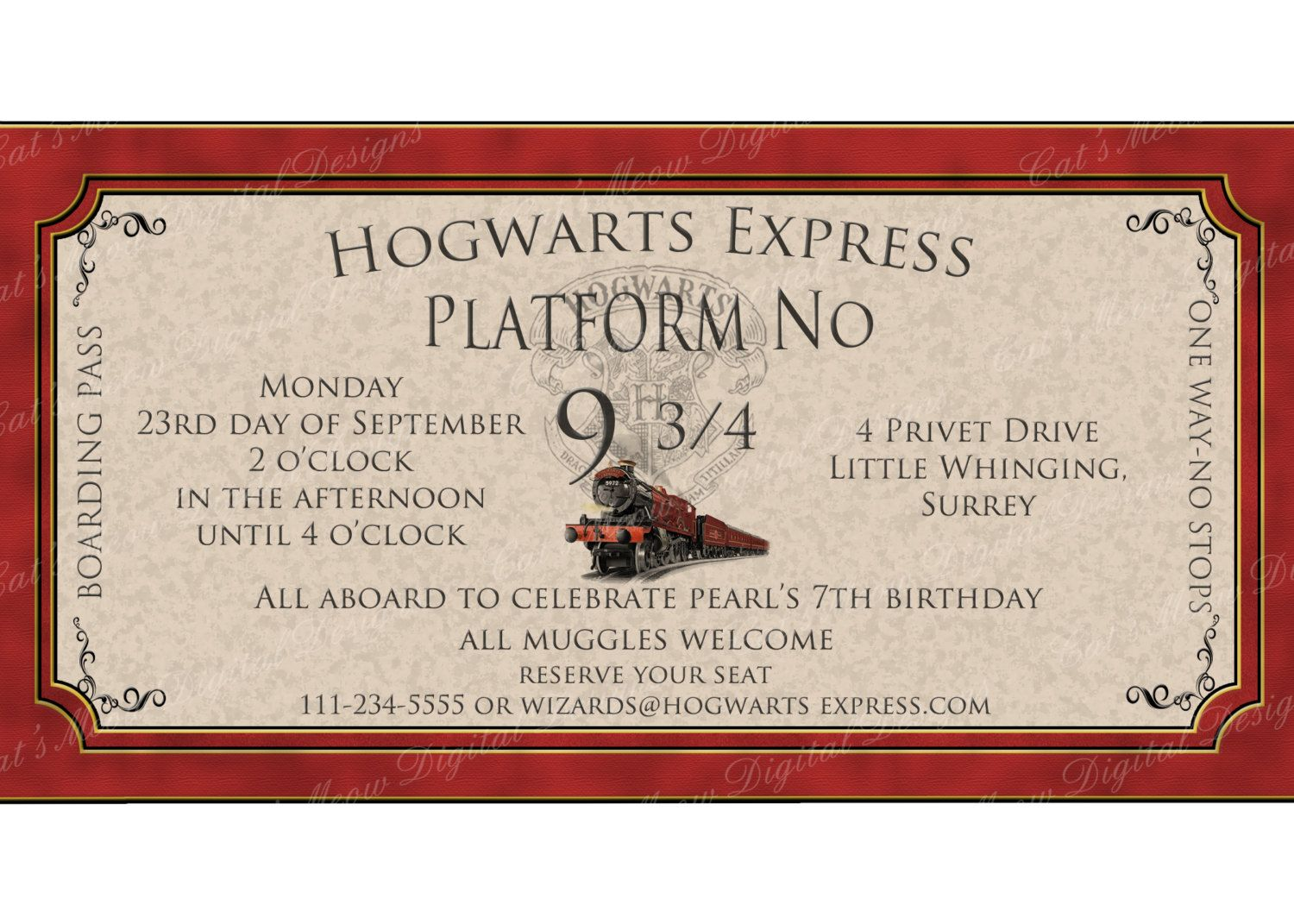 Hogwarts Harry Potter Birthday Invitation Printable Personalized – Printable Ticket Invitations
