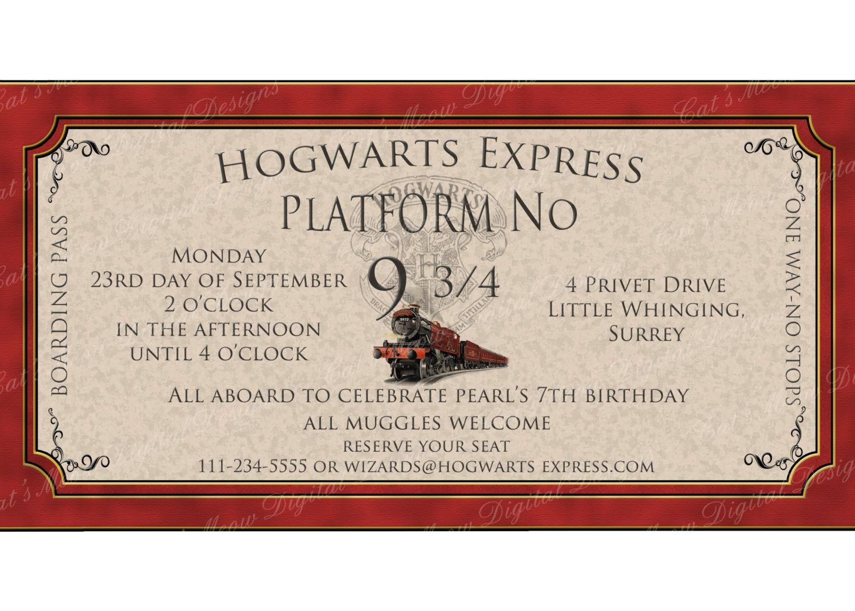 Harry Potter Printable Harry Potter Party Invitation
