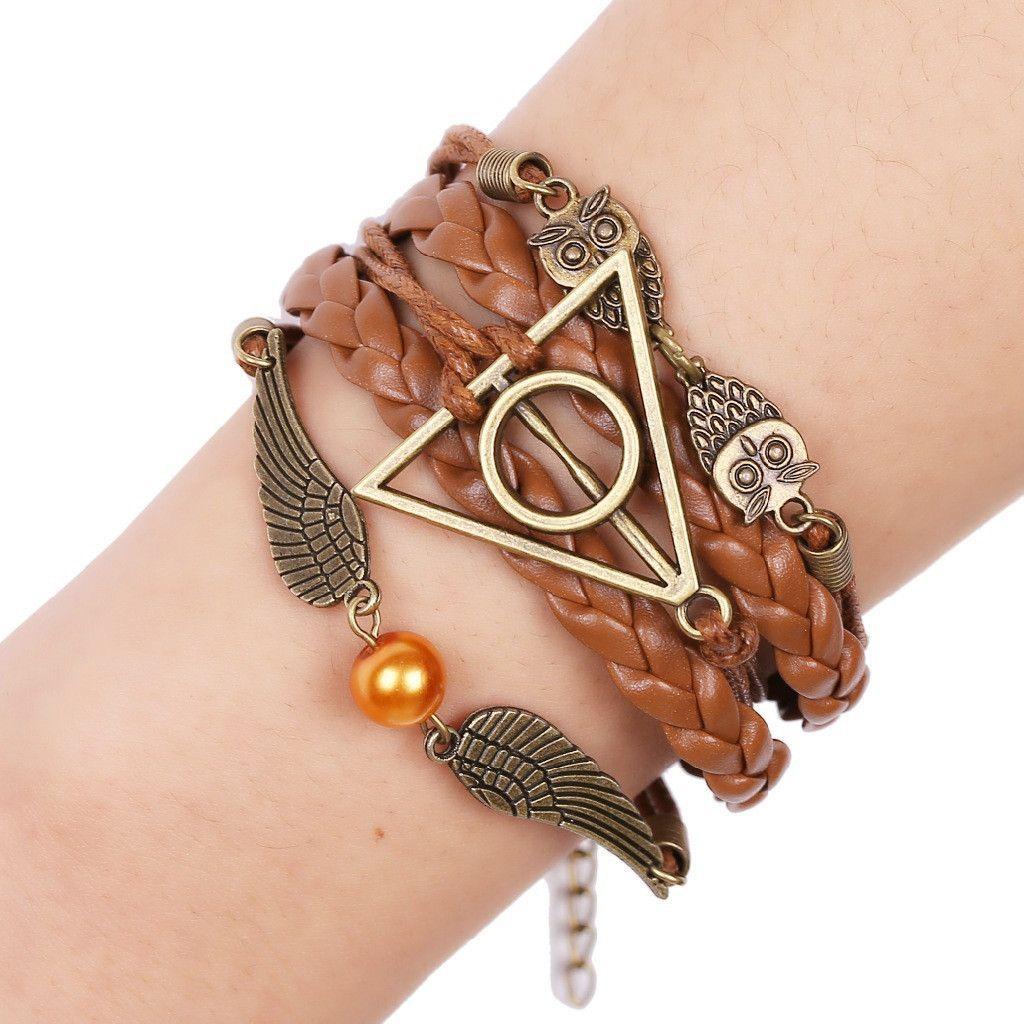 Handmade harry potter deathly hallows owl bracelet products
