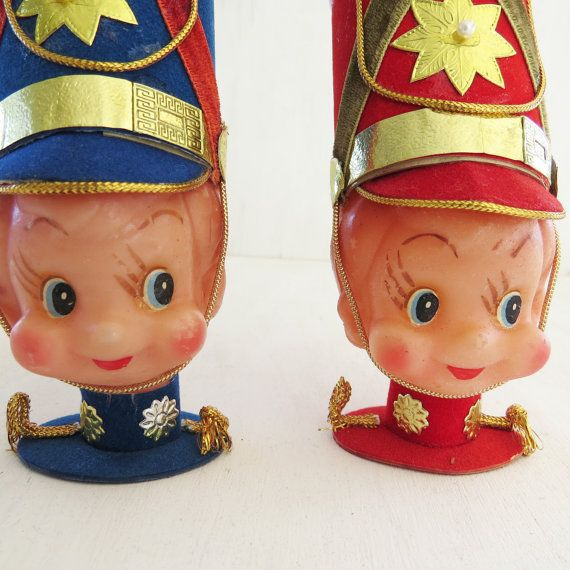 Marching Band Christmas Ornaments Part - 26: 2 Vintage Drummer Boy/Marching Band Rubber Head Christmas Ornaments One Red  One Blue