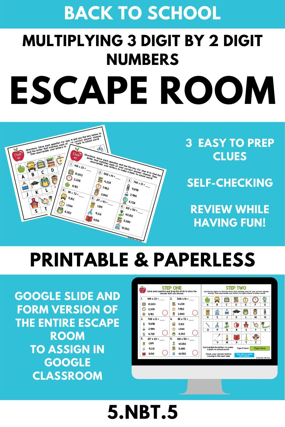 Multiplying 3 Digit by 2 Digit Numbers 5.NBT.5 BACK TO SCHOOL Escape Room    Upper elementary math [ 1500 x 1000 Pixel ]