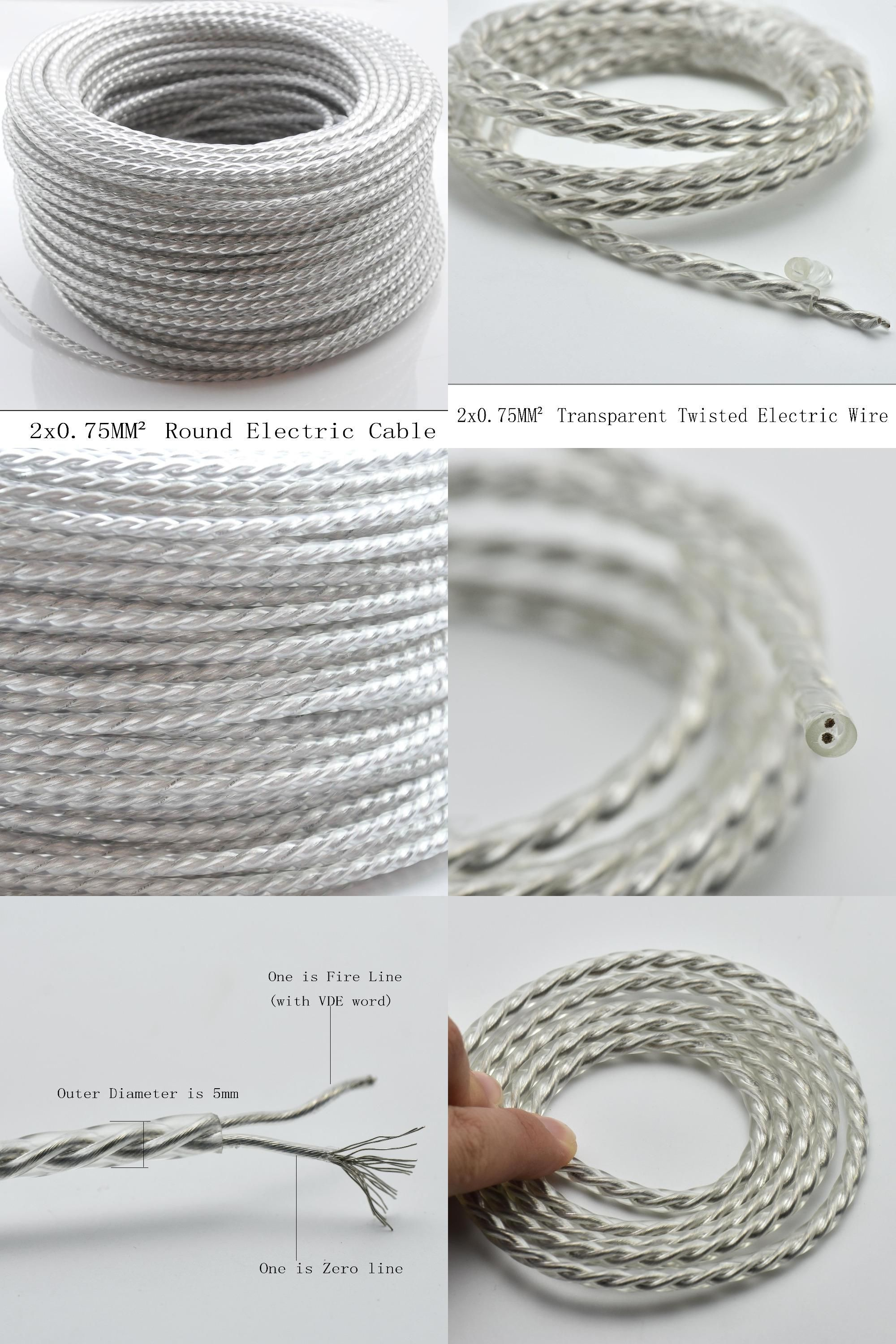 Visit to Buy] 2*0.75mm 5M Round Textile Wire Transparent Twisted ...