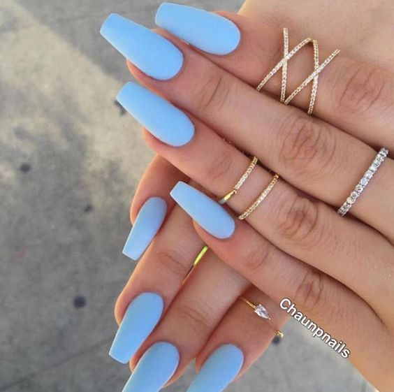 60 Simple Acrylic Coffin Nails Colors Designs Koees Blog Blue Acrylic Nails Periwinkle Nails Pretty Acrylic Nails