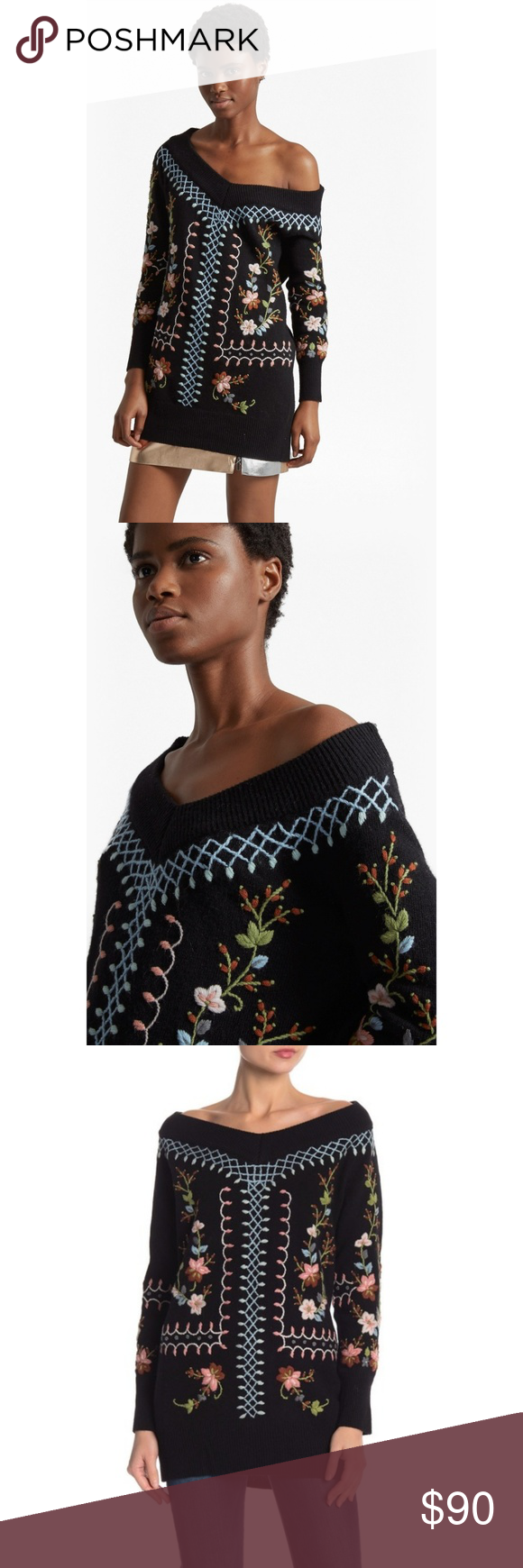 87986d646f1 French connection Bijou Embroidered pullover Brand new with tags. An  off-the-shoulder embroidered knit pullover is the next addition to our  closet.