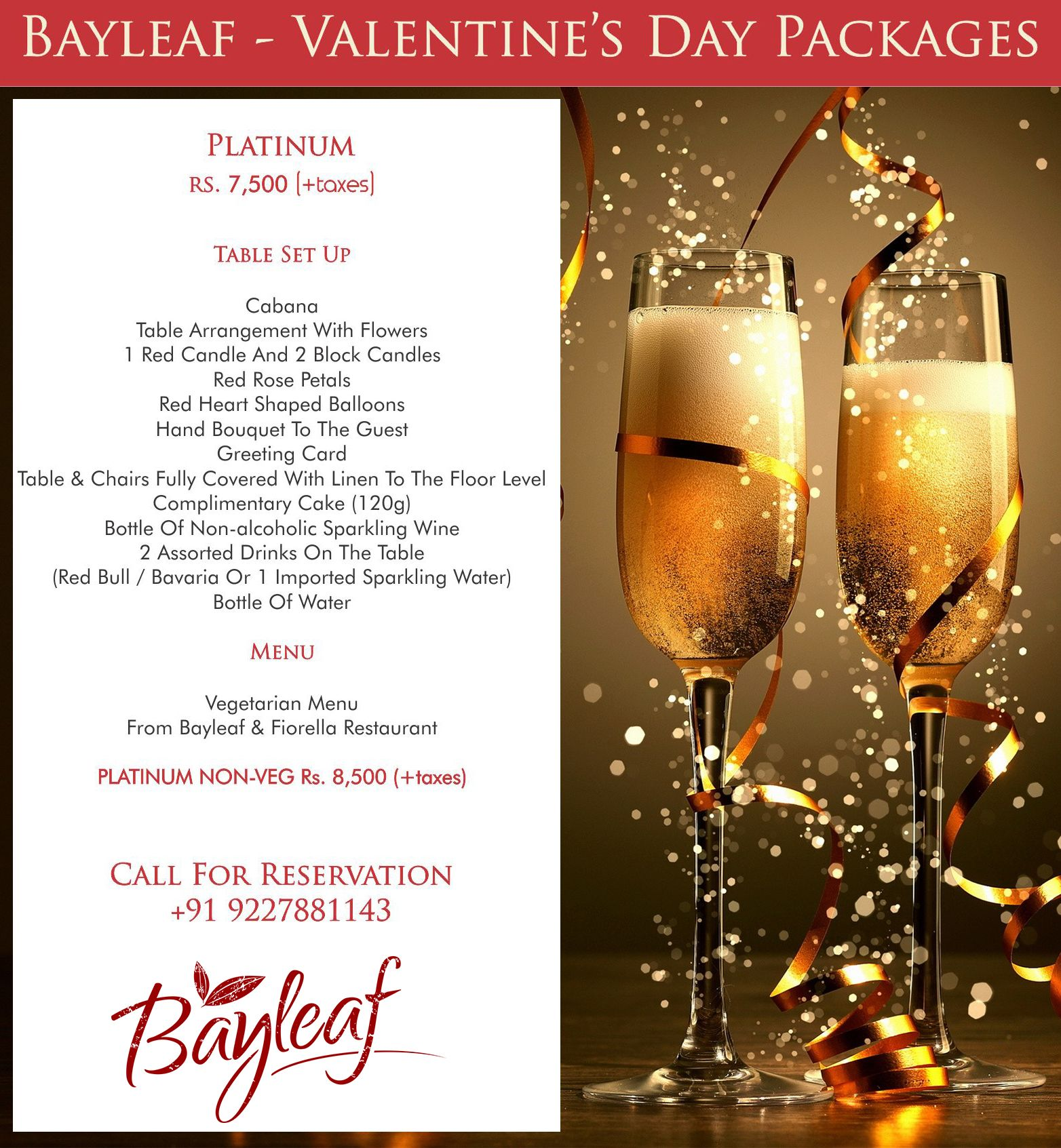 Valentine S Day Special At Bayleaf Restaurant Vadodara Call For Reservations 922 788 1143 Red Candles Valentines Day Package Block Candles