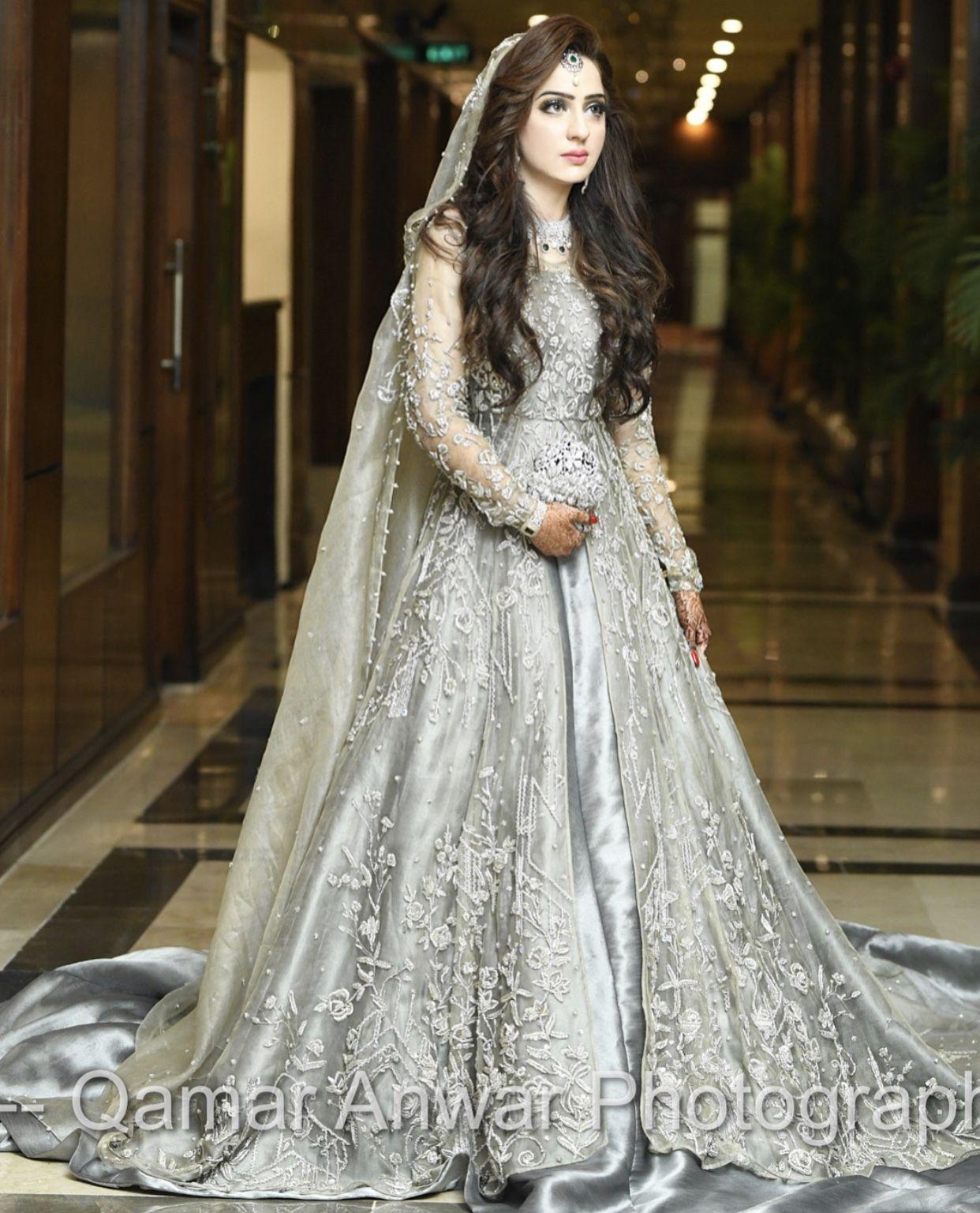 Pretty Silver  Bridal dresses pakistan, Beautiful pakistani