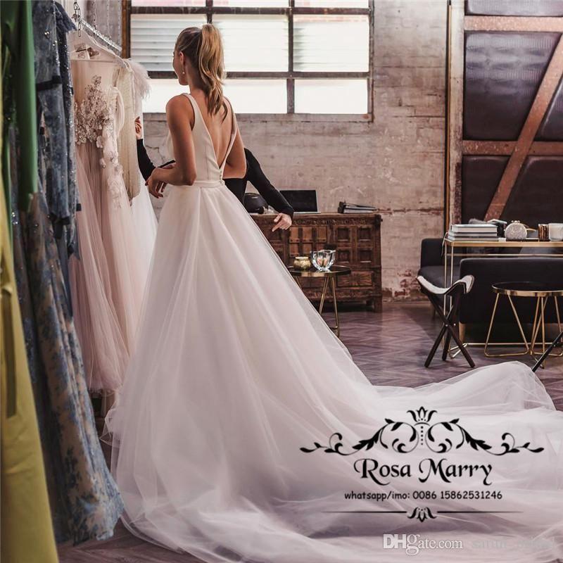Modest Plus Size Boho Beach Wedding Dresses 2019 A Line Off