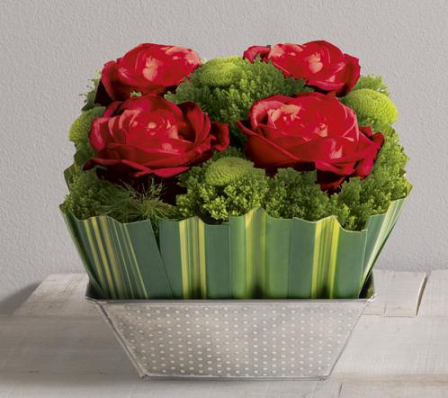 ouate rouge timbale de 4 roses rouges gros boutons dans un crin carr de fleurs et feuillages. Black Bedroom Furniture Sets. Home Design Ideas
