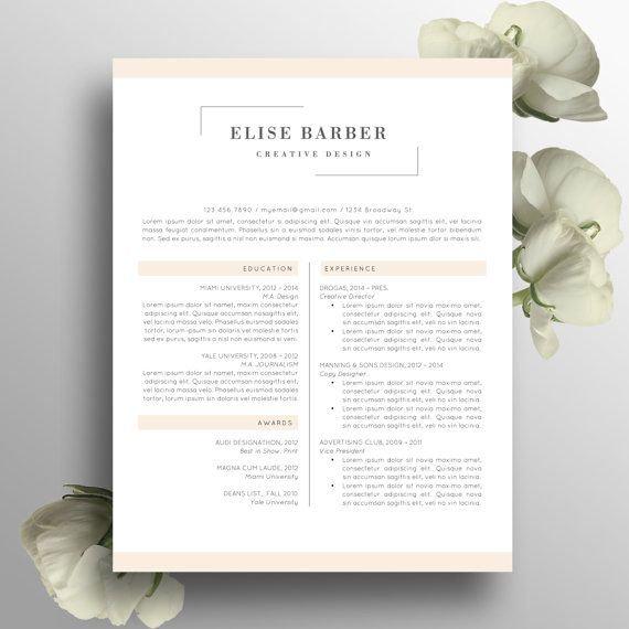 Creative Resume Template Word Instant Download By Modernresumeco