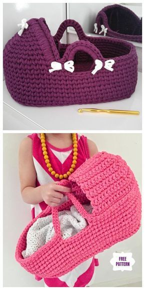 Häkeln Sie Wiege Korb Baby Carrier Free Crochet Pattern - Video #crochetpatterns