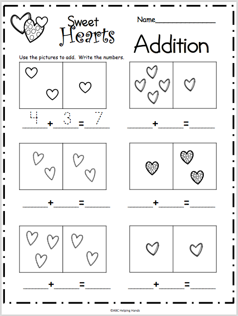 Sweet Hearts Basic Addition Worksheet Madebyteachers Basic Addition Worksheets Addition Worksheets Kindergarten Addition Worksheets