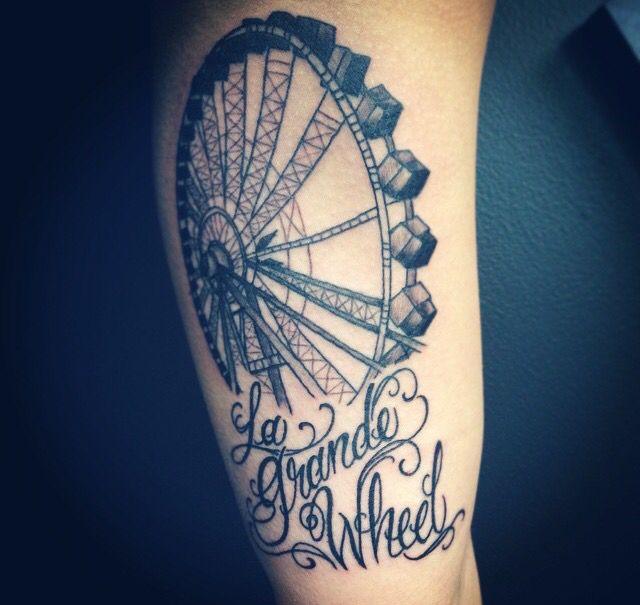 La Grande Wheel Tattoo Ferris Wheel And Script Tattoo Black And Grey Shade Edmonton Tattoo Wheel Tattoo Tattoo Script Tattoos And Piercings