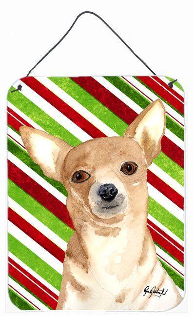 Candy Stripe Chihuahua Christmas Aluminium Metal Wall or Door Hanging Prints