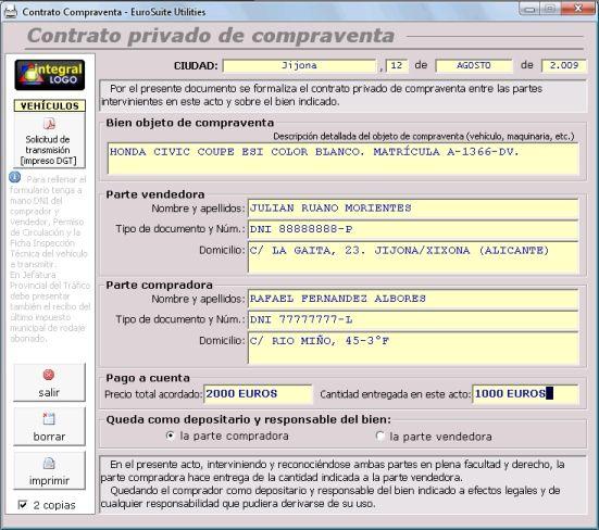Modelo privado contrato compraventa coches motos viviendas garajes locales etc contrato - Contrato de alquiler de garaje ...