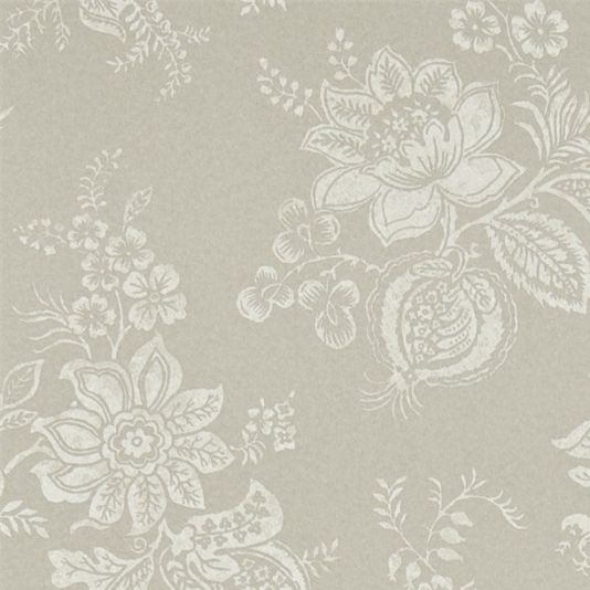 Lyon Wallpaper A smart floral damask design wallpaper in a woodblock print style in cream on a subtly mottled pale taupe background.