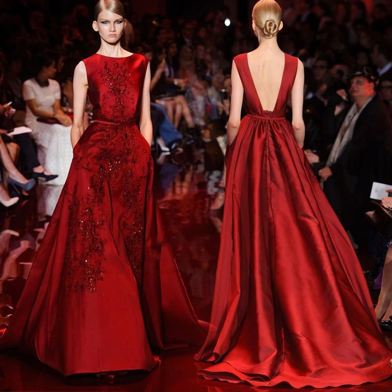 Dark Red Elie Saab Evening Dresses With Pocket Beaded Lace Backless Long Evening Gowns Sexy Vintage Sleeveless Women Prom Dresses 2017