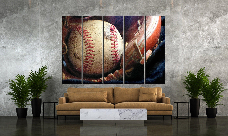 Set Of 5 Wall Art Canvas Wall Art Canvas Vintage Baseball Etsy Canvas Wall Art Canvas Art School Wall Art