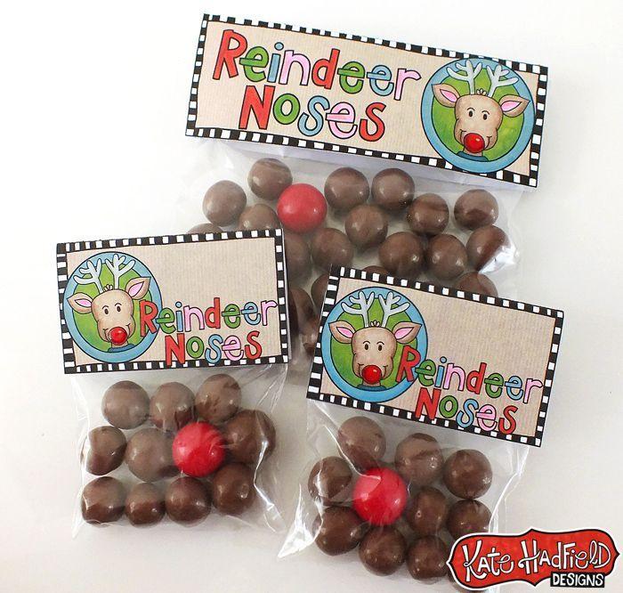 Reindeer Noses Printable Christmas Bag Toppers Rh Com Free Template