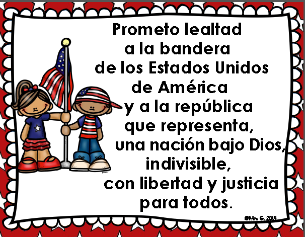 graphic about Pledge of Allegiance in Spanish Printable called Pledge of Allegiance Bilingual Posters Freebie SPANISH