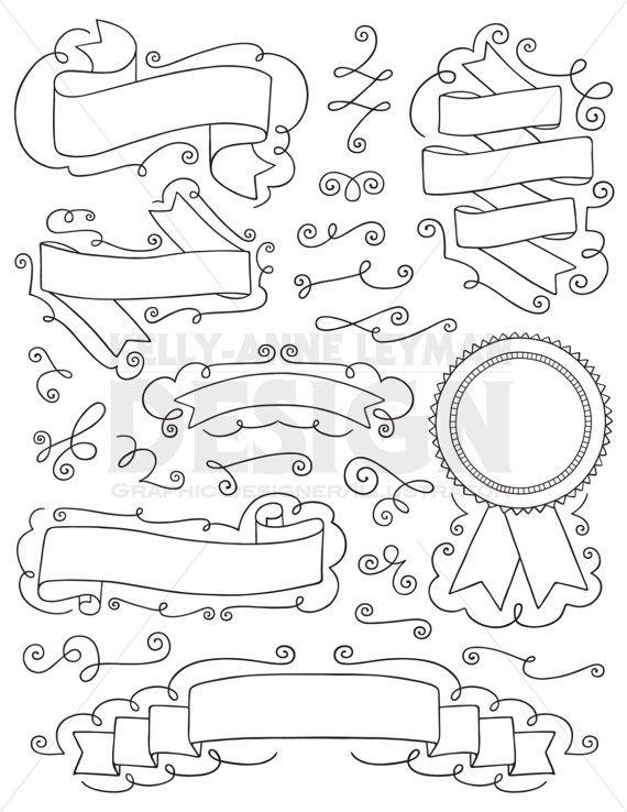 Doodle Digital Ribbons clipart, Labels Clip art set, Hand ...