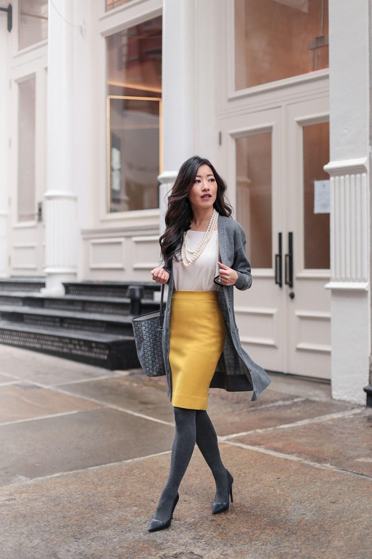 8920140f9c White top+mustard pencil skirt+grey winter tights+black pumps+grey cardigan+ grey tote bag+pearl necklace. Winter After Work-Drinks or Dinner Outfit  2018 # ...