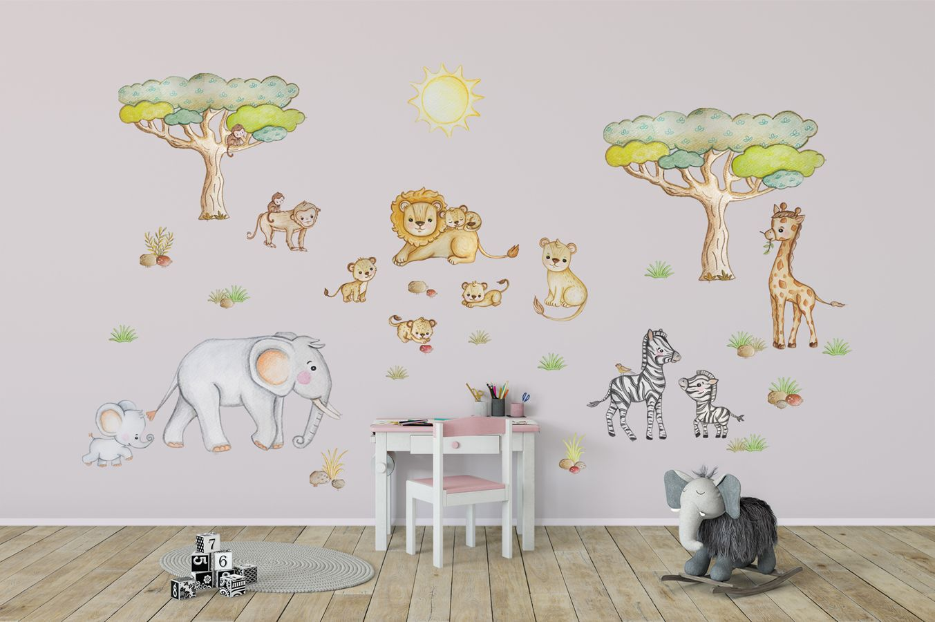 African animal wall decal Elephant wall decor Safari wall ...