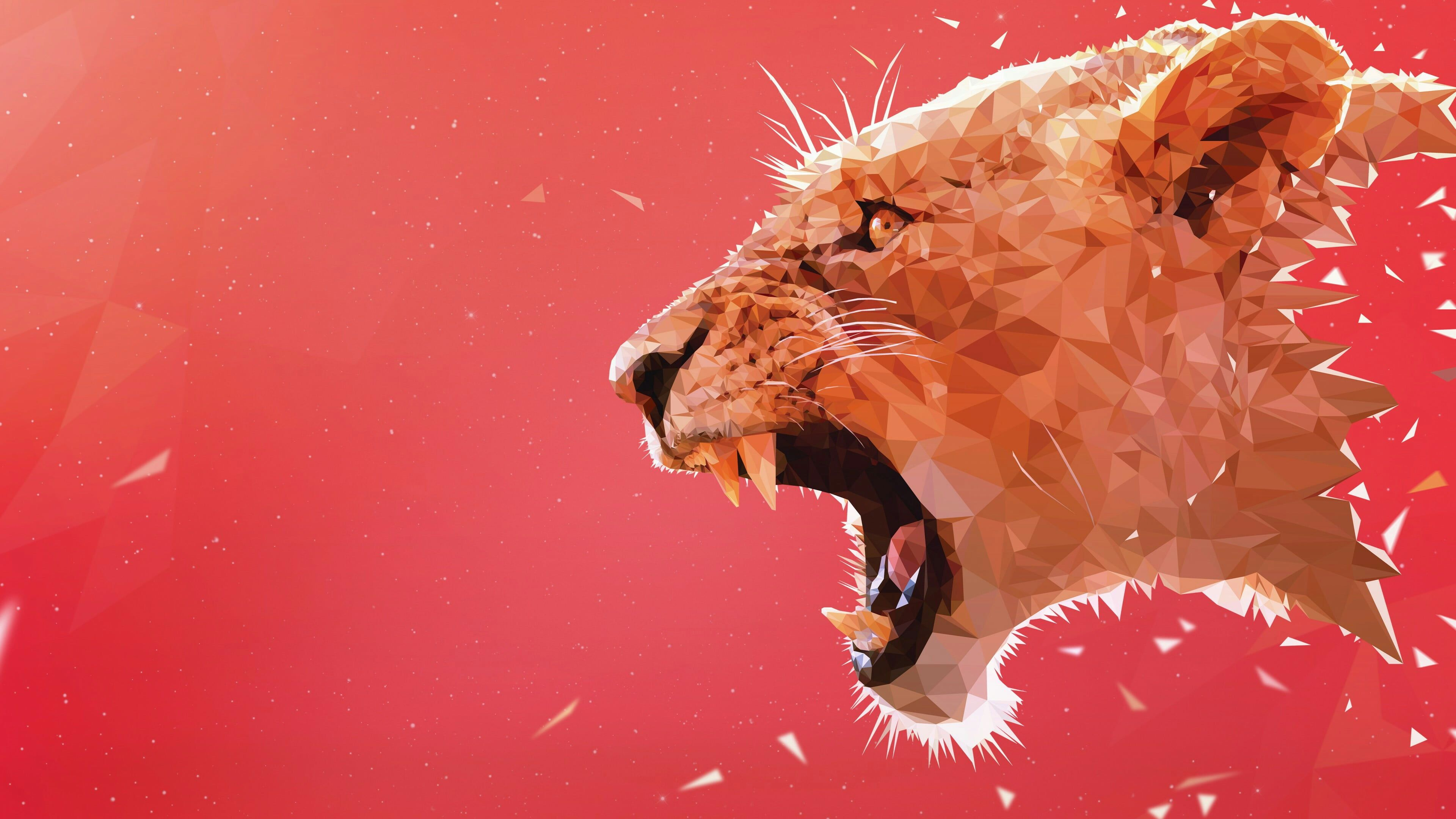 red lowpoly low poly angle artwork lion art roar