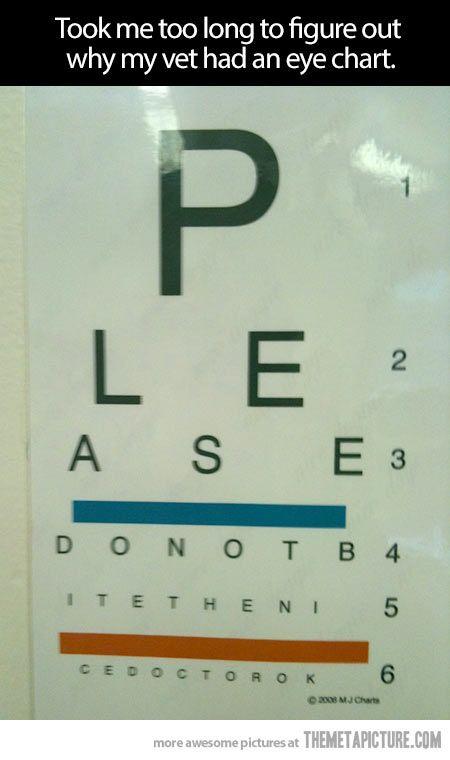 Vets Eye Chart Amuse Me Vet Office Vet Clinics Vet Med