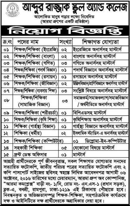 Abdur Razzak School and College Job Circular Job Circular - front desk job description