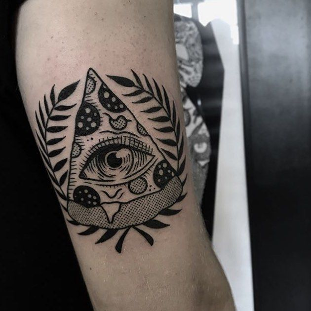 Black Tattoo Of A Slice Of Pizza With The All Seeing Eye Inside And A Wreath Around Trendy Tattoos Tattoos Food Tattoos