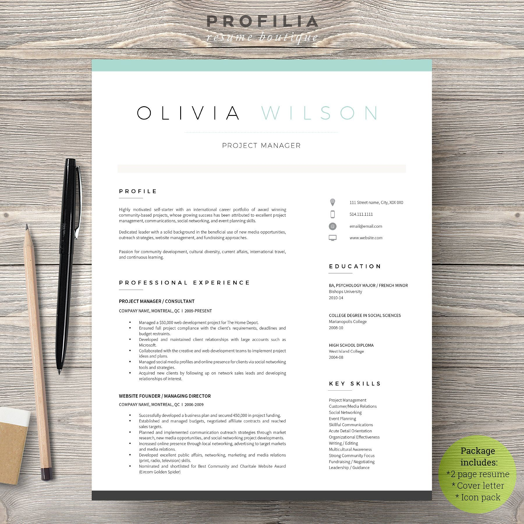 Word Resume & Cover Letter Template by Profilia_Resume on ...