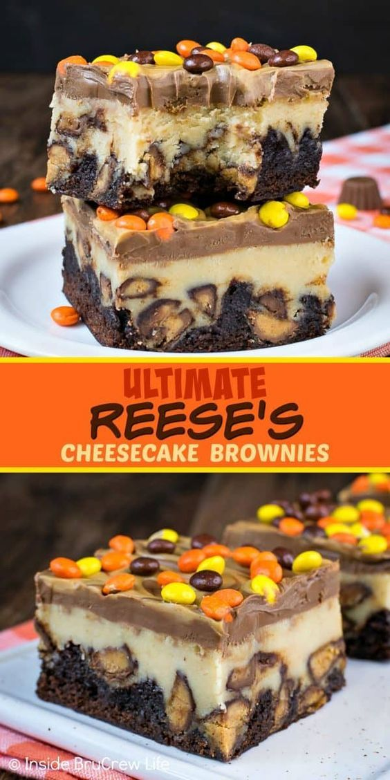 Ultimate Reese's Cheesecake Brownies - swirls of peanut butter and chocolate and lots of Reese's candies turn these cheesecake bars into the best brownies ever! Make this recipe for parties and watch everyone go nuts for them! #cheesecake #brownies #peanutbutter #reesespeanutbuttercups #reesesdessert #cheesecakebrownies #recipe #cheesecakerecipes