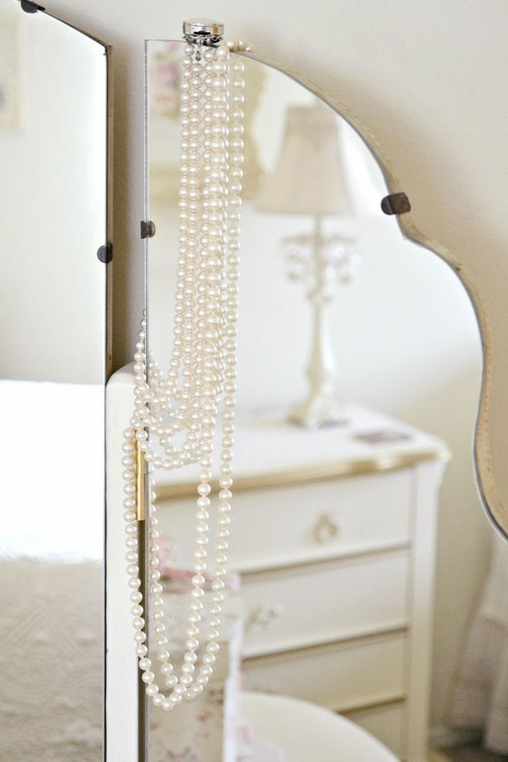 Mirror with pearls vanity table decor in pinterest pearls