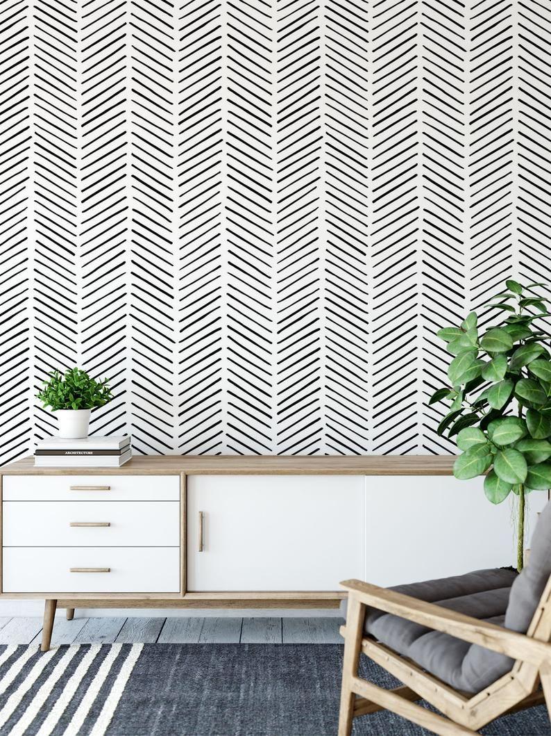 Minimalist Removable Wallpaper Chevron Wallpaper Modern Etsy Removable Wallpaper Chevron Wallpaper Peel And Stick Wallpaper