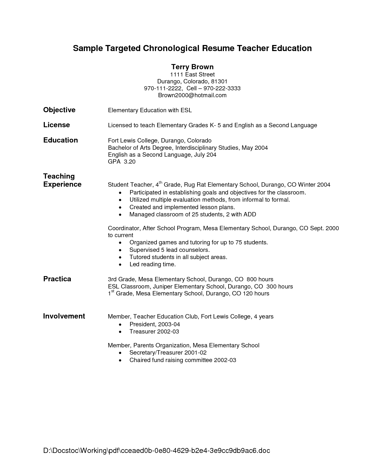 General Objectives For Resumes Art Teacher Resume Sample Free Secondary Example Format Home Sale