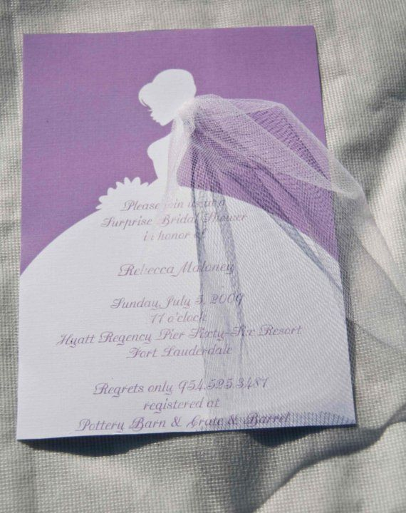 Bridal Shower Invitations Bride Silhouette with by Bellezaeluce, $25.00