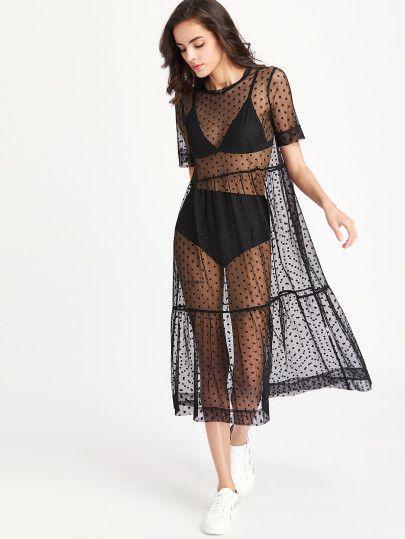 ffb0e90e57d Tiered Sheer Dobby Mesh Dress -SheIn(Sheinside)