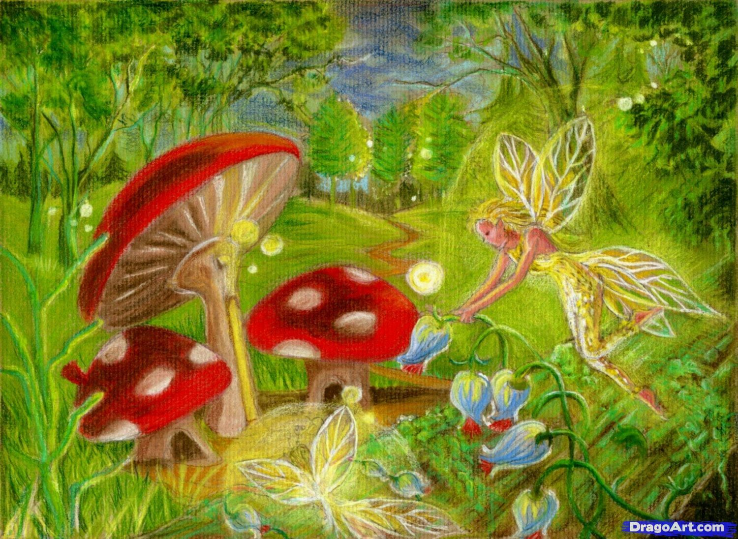 Mushroom mushrooms fairy things pinterest for Fairy on a mushroom drawing