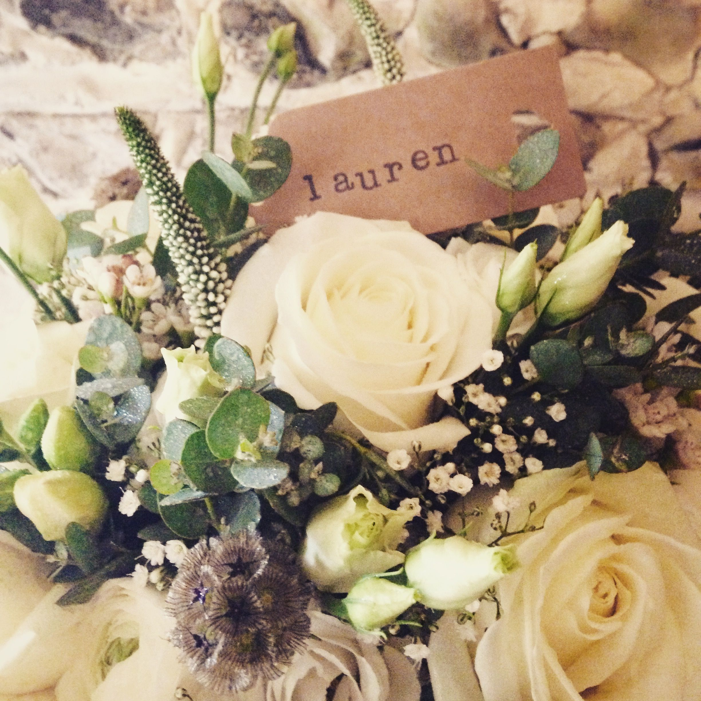 Ivory & Green Bridal bouquet by Rose Cottage Flowers