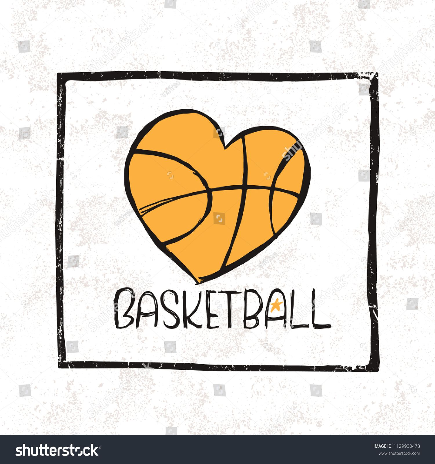 Vector Illustration Of Basketball Ball In The Shape Of A Heart Print Design For A T Shirt Love Of Sport Vector Illustration Heart Shirt Design Illustration
