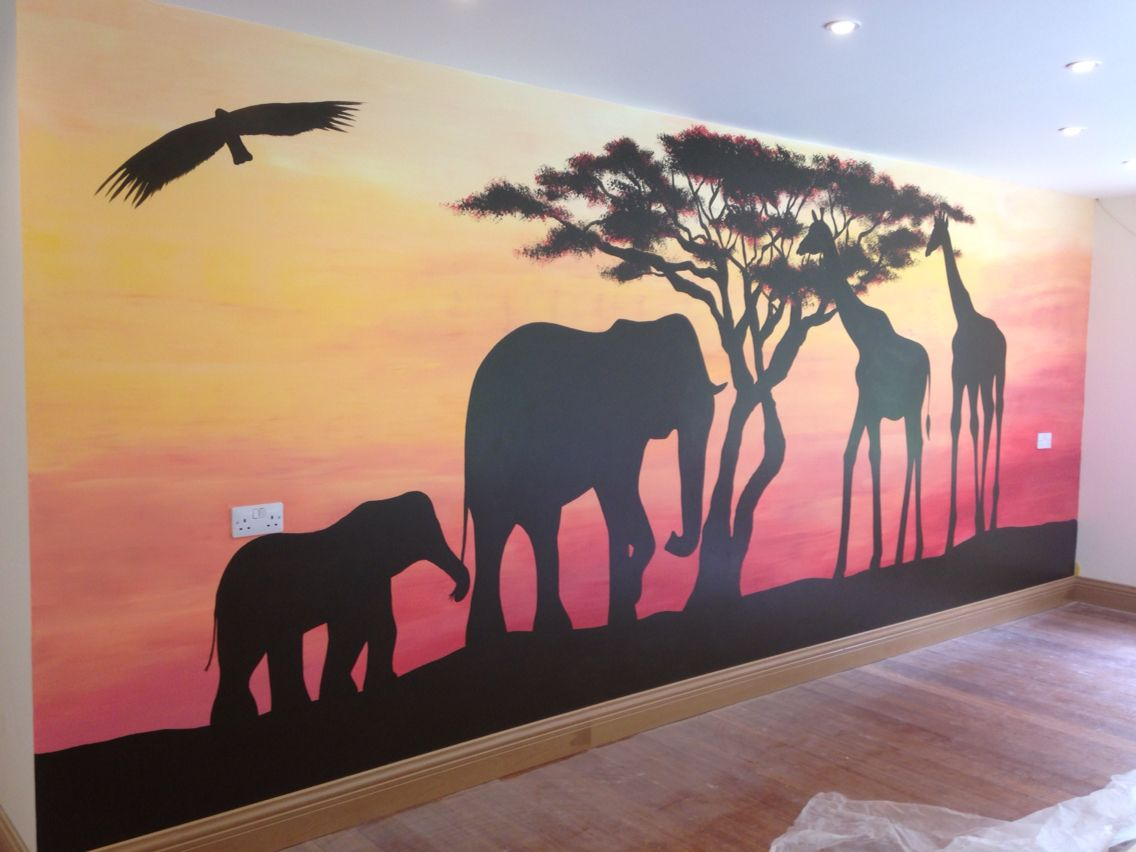 South african sunset jungle mural hand painted jungle for African sunset wall mural