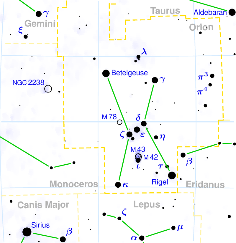 Orion constellation map Сазвежђе — Википедија, слободна