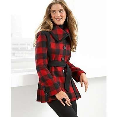 GUESS? Coat, Belted Buffalo Plaid | Buffalo Plaid: Red & Black ...