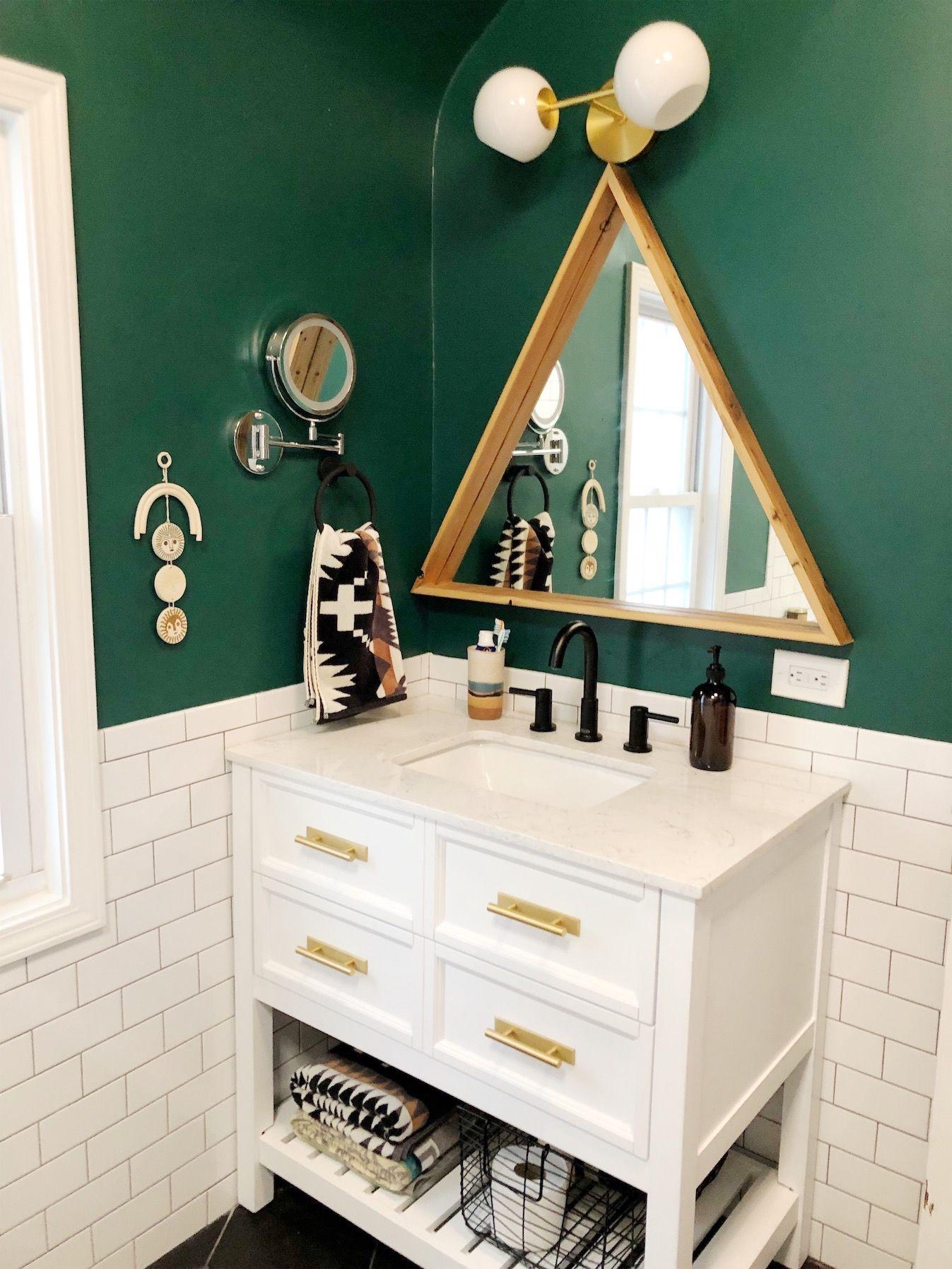 Deep Green Bathroom Refresh Unique Bathroom Mirrors Unique Bathroom Unique Bathroom Vanity