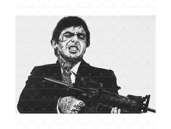 Scarface Tattoo Inked Ikons Al Pachino Framed by WeeBlueCooPrints