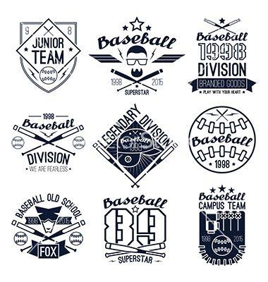 college baseball team emblems vector logosneuevector on