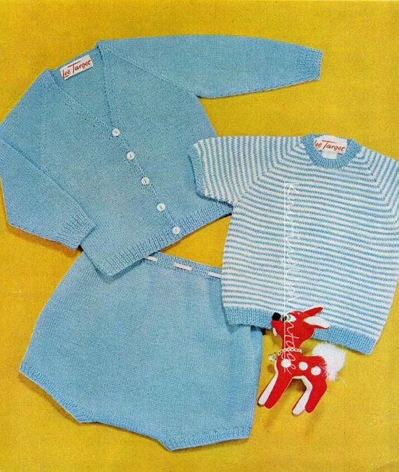 Baby Knitting Pattern pdf Baby Boy Jumper, Cardigan and Shorts 18 ...