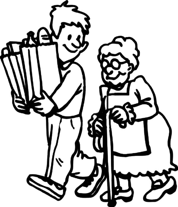 Helping Others By Carrying Elderly Groceries Stuff Coloring Pages Coloring Sky People Coloring Pages Coloring Pages Cute Coloring Pages