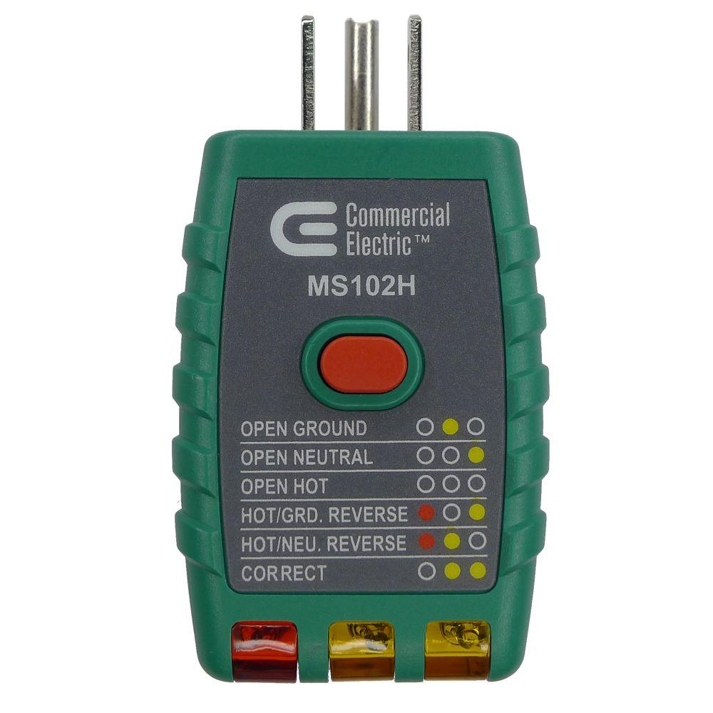 Commercial Electric Outlet Tester With Gfci Otg 102r The Home Depot Gfci Commercial Electric Electrical Tools